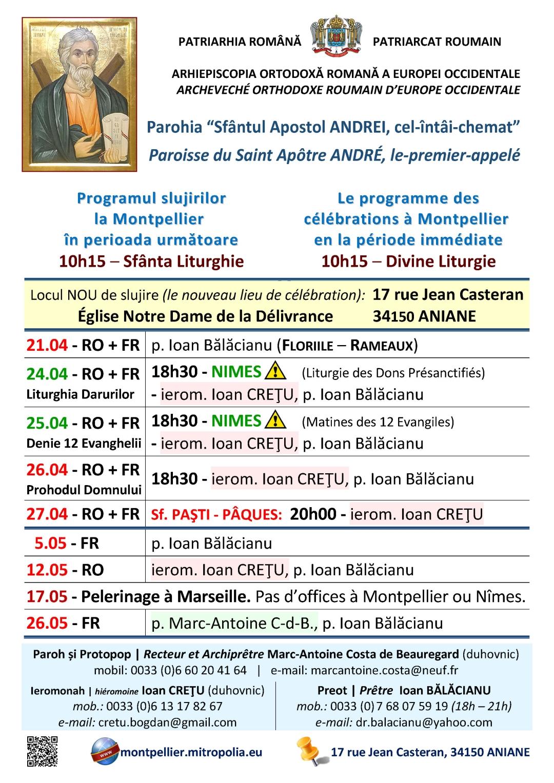 Programul slujirilor la Montpellier